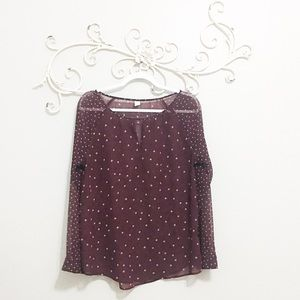 Old Navy Sheer Blouse Maroon Top with Print